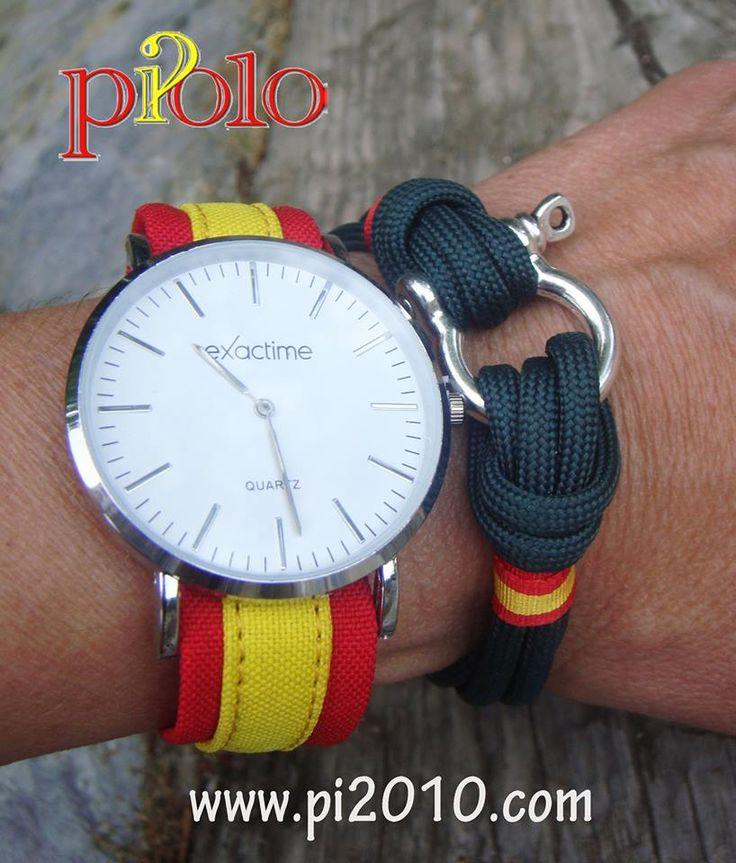 Combinación pulsera verde y reloj correa España http://www.pi2010.com/Complementos-bandera-España/reloj-bandera-españa  Si te gusta, comparte
