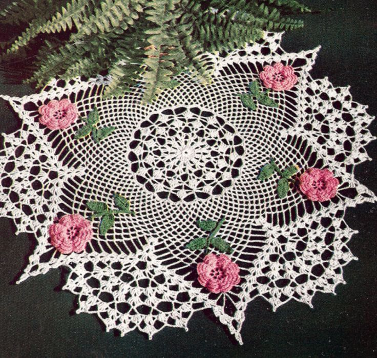 Vintage Crochet PATTERN Irish Rose Flower Doily Motif ...