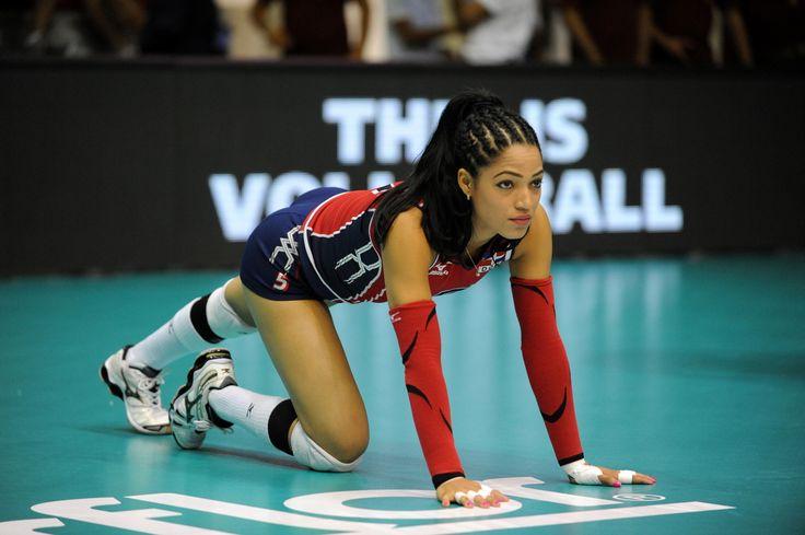 Brenda Castillo, il libero della Repubblica Dominicana durante lo stretching.