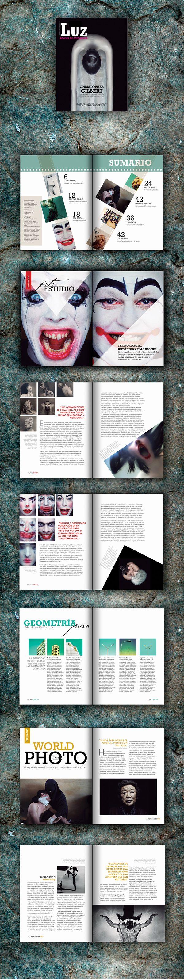 Trajbajo editorial universitario - Creación de una revista de fotografía que contenga un sumario con dos artículos diferenciados y una página especial.