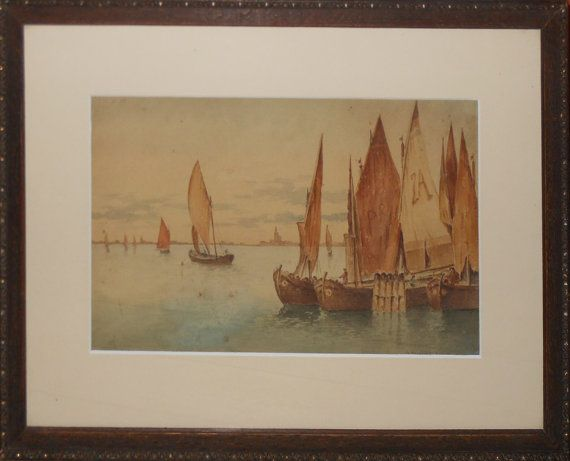 Vintage small venice water color signed by WeVintageArtfulShop