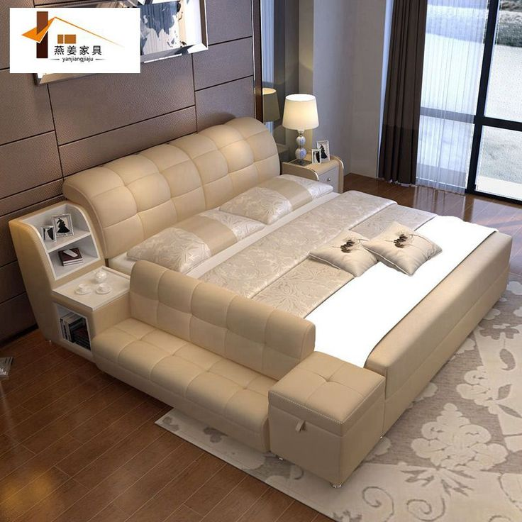 Bedroom furniture China leather bed Tatami bed Minimalist modern double bed Width includes 1.5 meters & 1.8 meters.