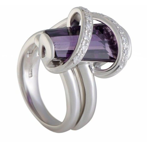 Preowned Diamond And Amethyst Platinum Cross Over Ring (€1.325) ❤ liked on Polyvore featuring jewelry, rings, cocktail rings, purple, diamond jewellery, diamond jewelry, amethyst diamond ring, amethyst jewelry and pre owned diamond rings