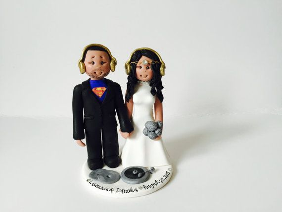 Music theme DJ wedding cake topper Custom made by ALittleRelic