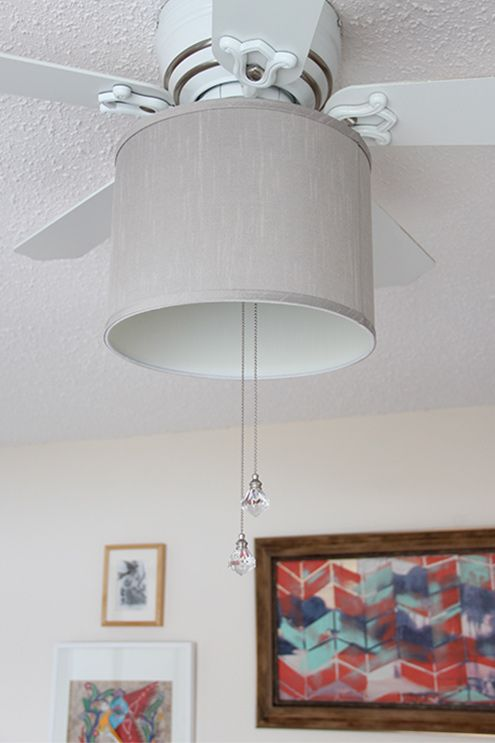 Add a drum shade to your ceiling fan! It only takes 5 minutes with this easy DIY!                                                                                                                                                                                 More