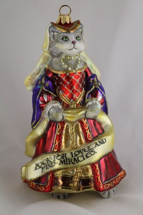 Vatican Christmas Ornaments Part - 45: Catherine Of Aragon Cat Angel Wings Polish Hand Painted Glass Christmas  Ornament In Collectibles, Holiday