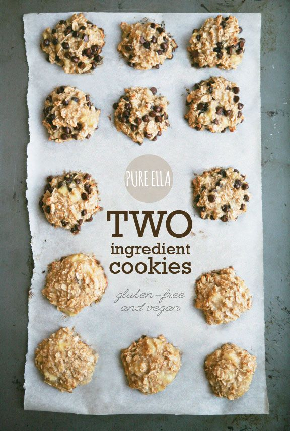 Pure-Ella-two-ingredient-cookies - Mashed banana and rolled oats (and chocolate chips if you want)