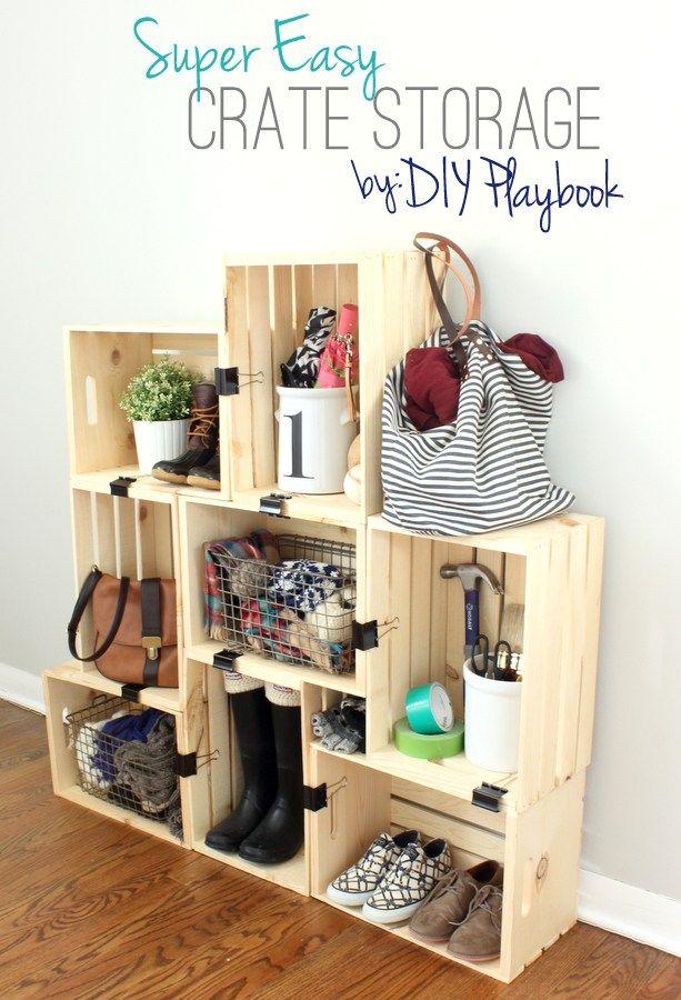 25 best ideas about crate storage on pinterest desk - Teenage room storage ideas ...