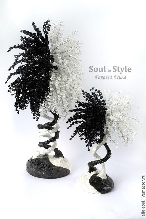 Купить Деревья Инь-Янь - черно-белый, подарок на любой случай, искусство, деревья из бисера