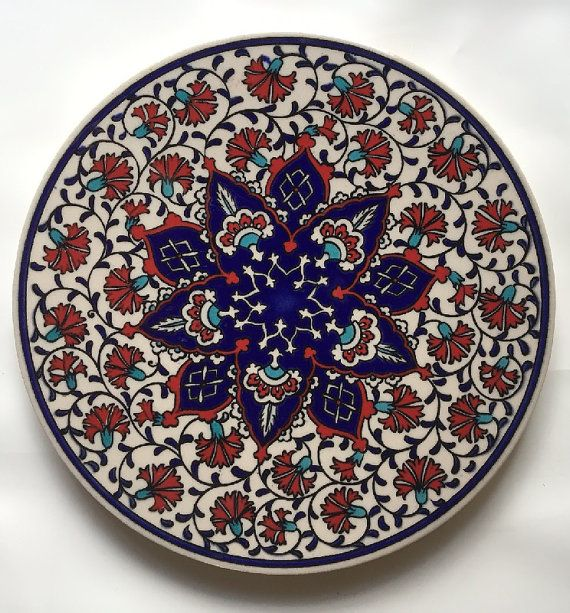 Trivet Turkish Ceramic Clay Round Trivet Plate  by artfulproducts