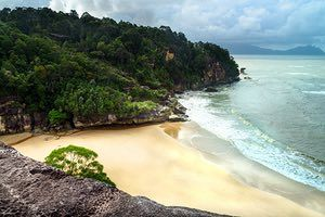 Bako national park, view on the beach from cliff, Sarawak. Borneo. Malaysia