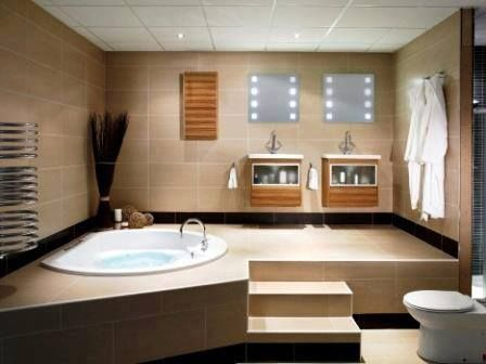 bathroom ideas All it needs is a huge wall fish tank in the left wall.