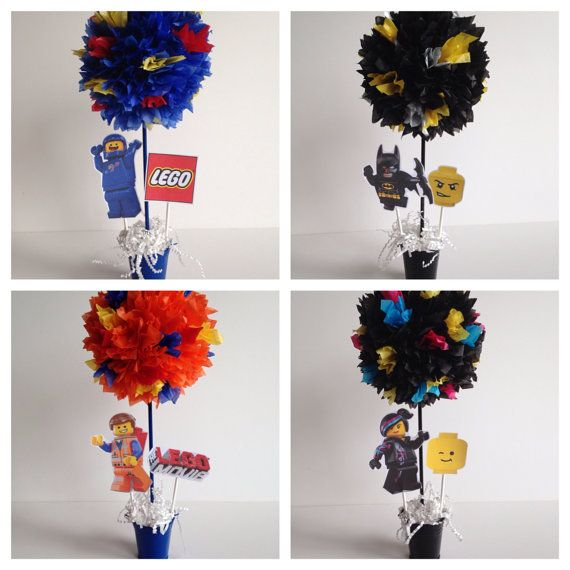 Lego Movie birthday party decoration, centerpiece, centerpieces, Emmet, batman, wyldstyle, benny, lego by AlishaKayDesigns on Etsy