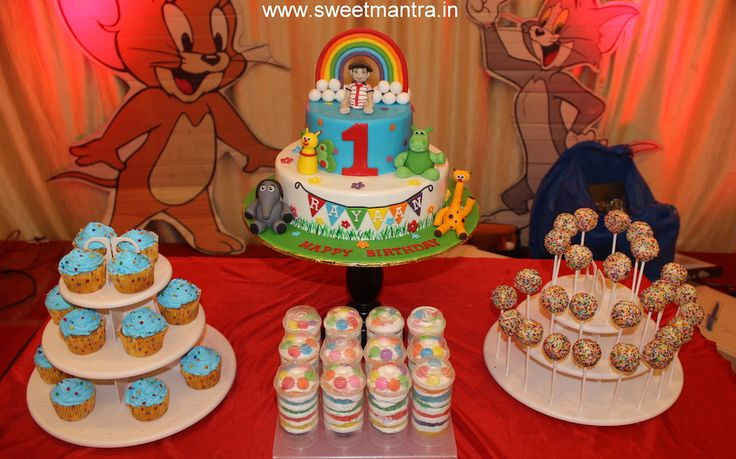 Baby TV theme colorful dessert/sugar table for boy's 1st birthday at Hinjewadi, Pune