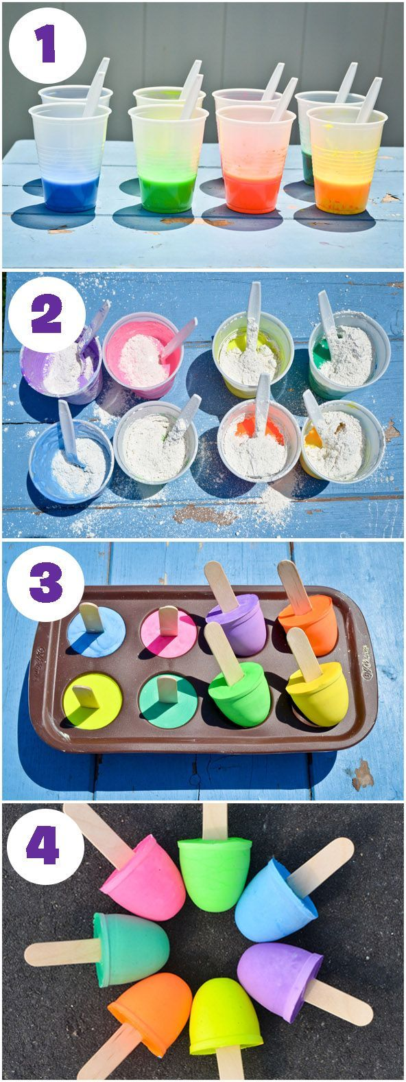 Give your budding graffiti artist the finest gear this spring with these DIY Sidewalk Chalk Pops. Your toddler will doodle for days with these homemade craft supplies. Have your kiddo take note that while these chalk pops may look like delicious lollipops
