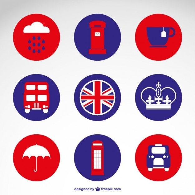 Londres badges gratuits plats Vecteur gratuit