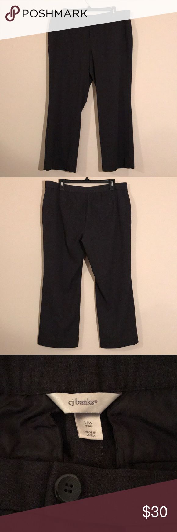 CJ Banks Dress Pants CJ Banks 14W Petite dark grey dress pants - two buttons and zipper - like new! CJ Banks Pants Trousers