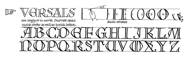 KLIK   Margaret Shepherd: Calligraphy Blog These capitals, Versals, are based on a late-medieval style that was popular for the initial letters of sung verses.  They can be colored bright red or blue, and were sometimes filled with ornament and scenes.