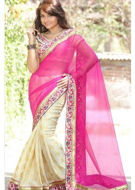 saree Chanderi rose, - 95,00 €, #RobeIndien #Sari2016 #SariMariage #Shopkund