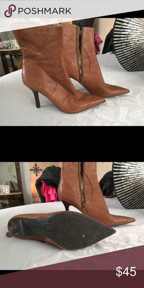 Nine West leather ankle boots Tan leather.  Lightly used. Ankle boots. Nine West Shoes Ankle Boots & Booties