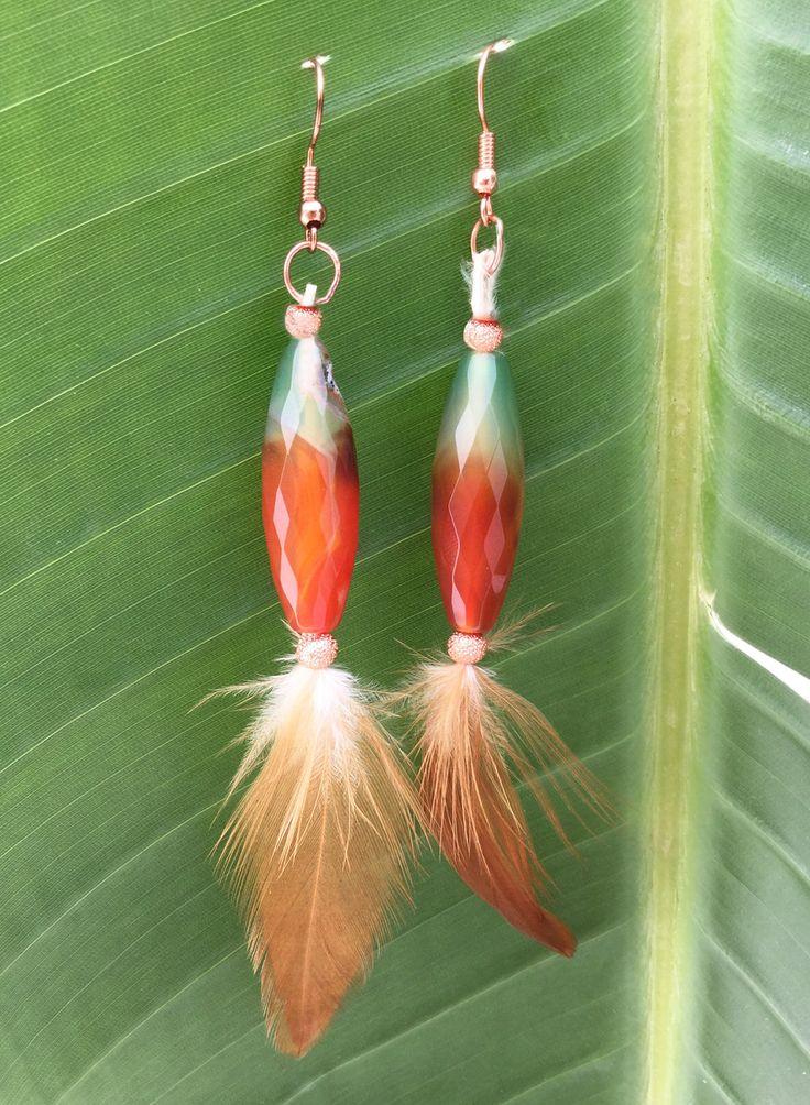 Handmade Feather Earrings, Boho, Tribal, Coachella, Goddess, Festival, Western, Jade, Celebrity, Unique Sexy, Gypsy (NaturesWay Earrings) by Zellla on Etsy