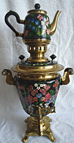 Vintage Russian Soviet Hand Painted Electric Samovar Tea Pot Coffee Urn Teapot