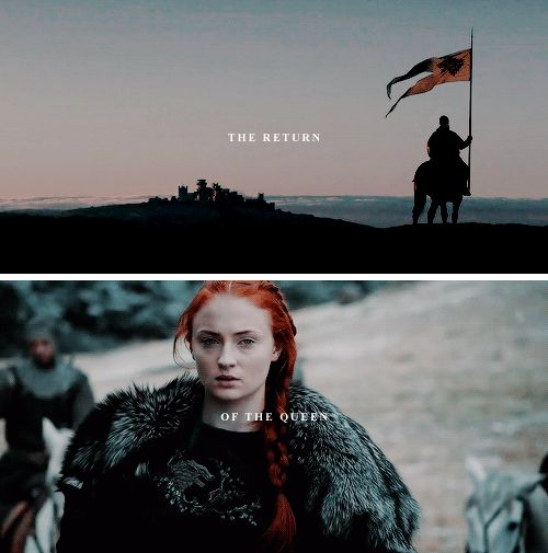 Sansa Stark: and when you come out with your long auburn hair, clad in a maiden's cloak of white and grey with a direwolf emblazoned on the back… why, every knight in the Vale will pledge his sword to win you back your birthright. #asoiaf