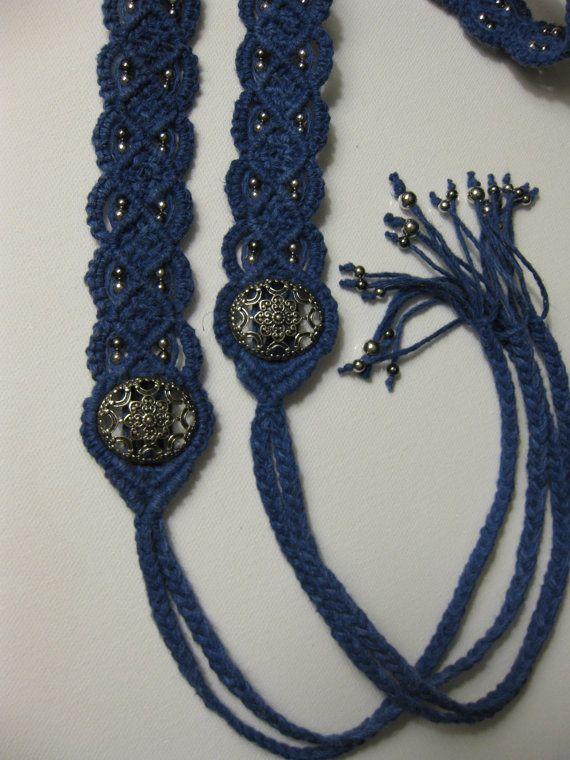 Eco-friendly Dark Blue beaded Macrame Belt- Woven Belt - Eco friendly hemp cord - women's accessories