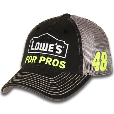 NASCAR · Men s Jimmie Johnson Hendrick Motorsports Team Collection Black Gray  Lowe s Vintage Adjustable Trucker Hat 96358f81d6a3