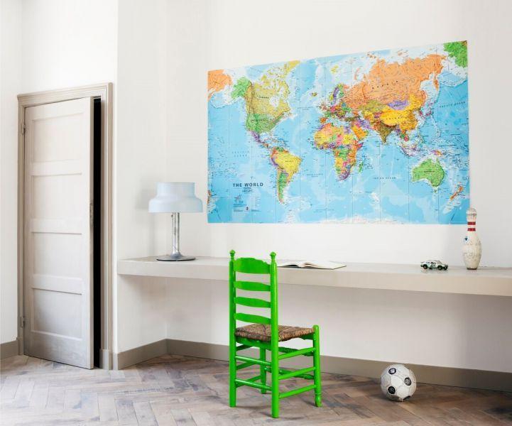 Fleur een kale wand in je woonkamer of slaapkamer op met deze wereldkaart van ixxi.