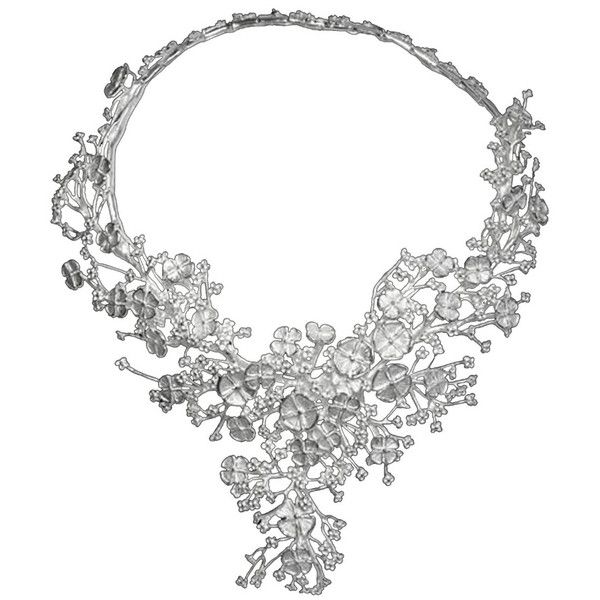 Womens Vizati's Sterling Silver Blossom Array Necklace ($1,390) found on Polyvore featuring jewelry, necklaces, accessories, silver, sterling silver flower jewelry, bridal jewelry, bridal jewellery, bride jewelry and sterling silver flower necklace