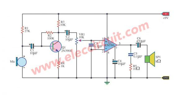 2 Megaphone Circuit Diagram You Do Not Miss Eleccircuit Com Circuit Diagram Circuit Audio Amplifier