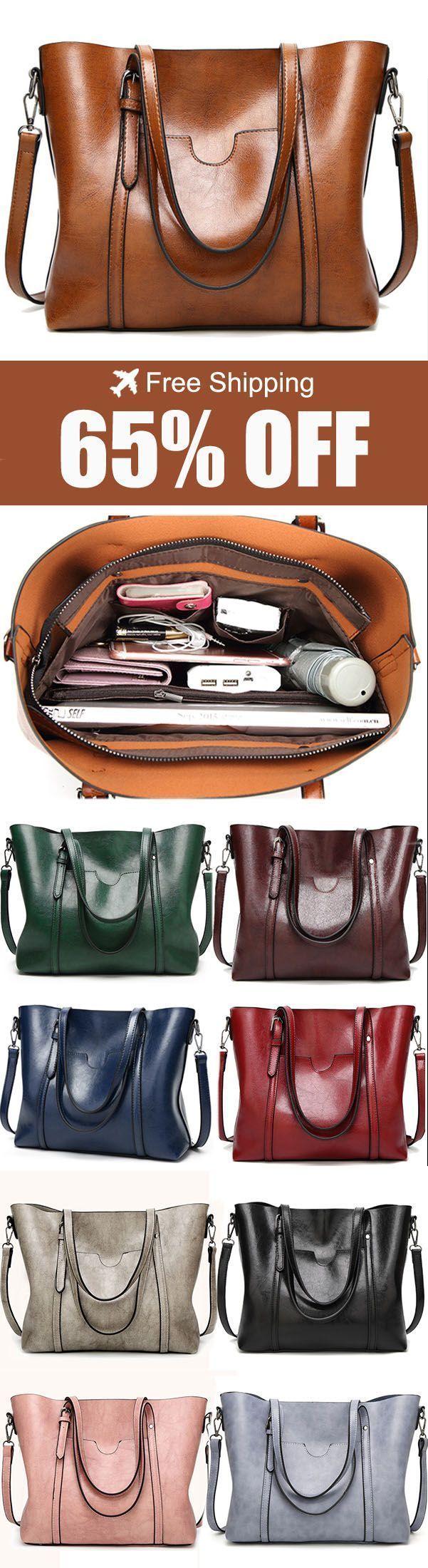 Women Tote Handbags Vintage Front Pocket Shoulder Bags Large Capacity Crossbody Bags. #fashion #bags