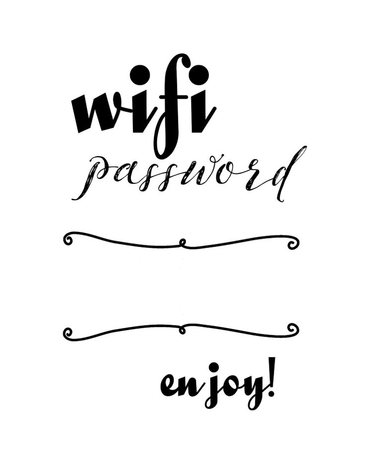 Wifi Password Printable - www.michellejdesigns.com                                                                                                                                                      More