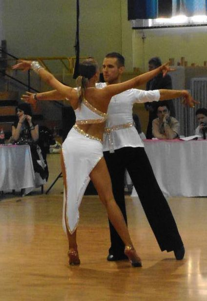 M621 White Gold Latin Dance Costume for sale - Dreamgown