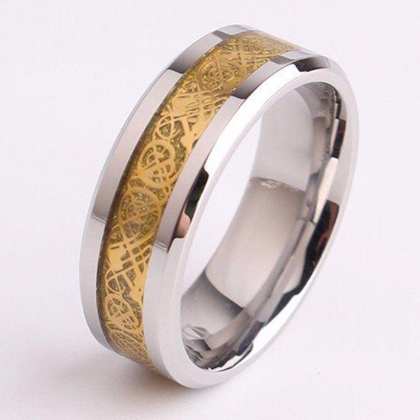 Vintage Golden Chinese Dragon Men's Promise Rings