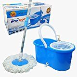 #7: Woodsam Magic Spin Mop  Easy Press Mop Bucket Set  360 Rotation Push & Pull  Liquid Drain Hole  Easy Wring with Reusable Mop Heads  Non Pedal