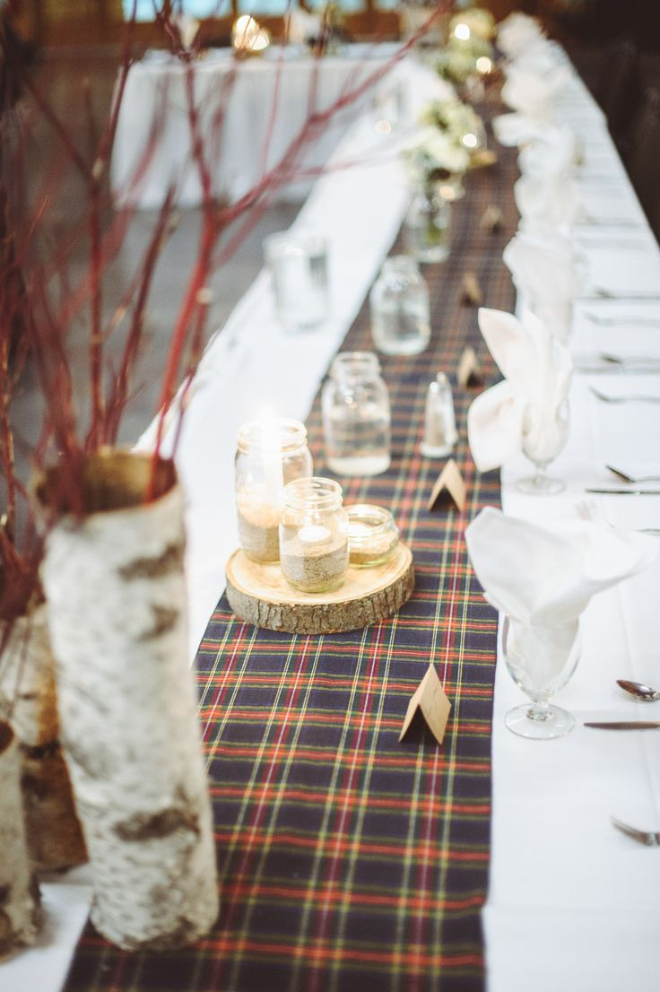 I'm starting to like the idea of a plaid runner down the middle of the table...