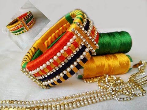 how to make Designer Silk Thread Bangle/Kada at Home | DIY - YouTube