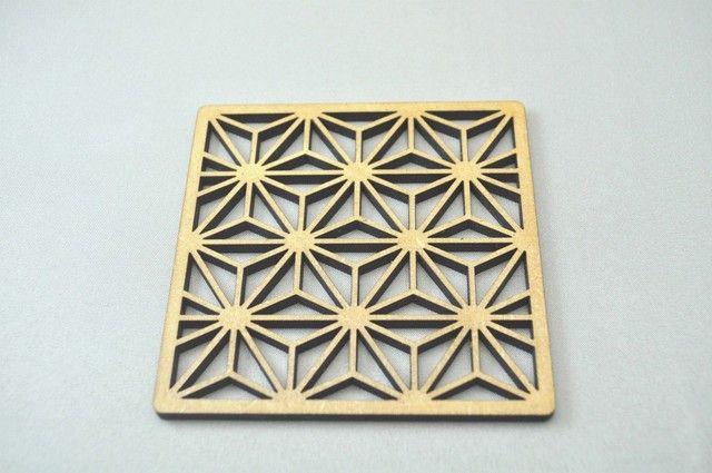 ~和柄コースター~ 麻の葉(あさのは)模様 12枚セット 麻の葉模様のオリジナルの箱付。の画像3枚目