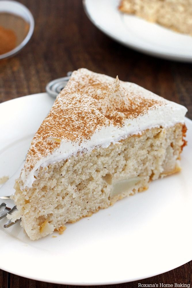 Moist and tender pear cake made with chucks of fresh pear nested in a cinnamon flavored tender cake.