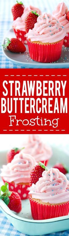 Real Strawberry Buttercream Frosting - Top your favorite cupcakes with this fresh and sweet Strawberry Frosting. Made with REAL fresh strawberries, it will be a dessert-time favorite. Looks amazing! Maybe for some strawberry lemonade cupcakes?