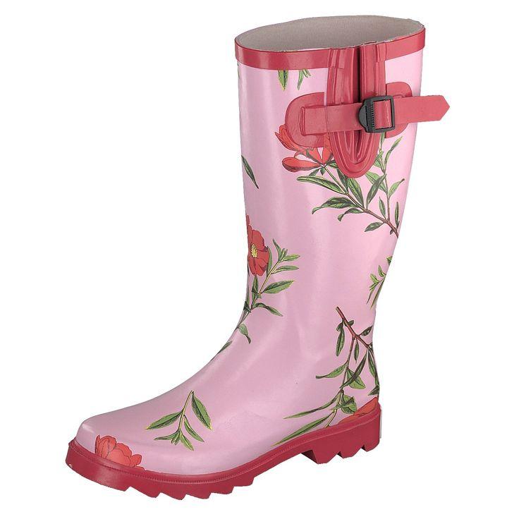 Gosch Shoes Sylt Damen Gummistiefel Langschaftstiefel pink Flower Print - Gosch #gosch #stiefel #pink