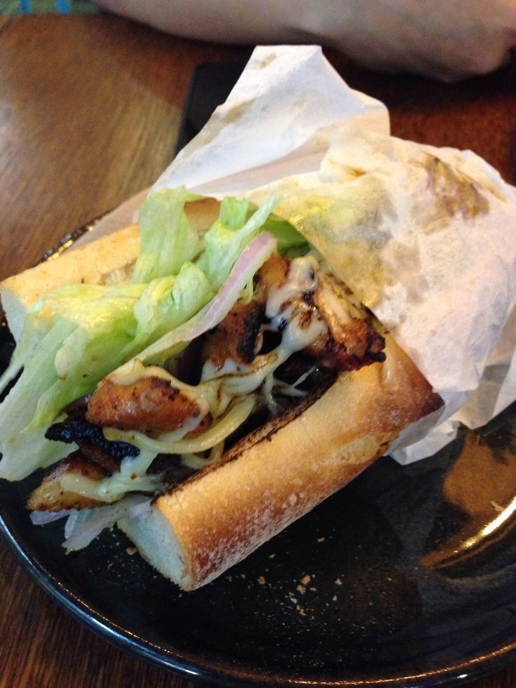 Spicy chicken baguette at Bluebird