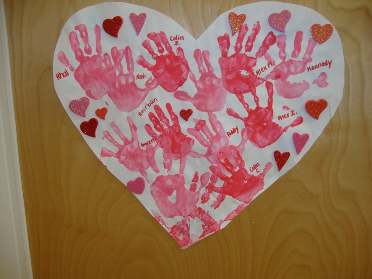 Valentine's Day Heart. Hand prints of all my students.