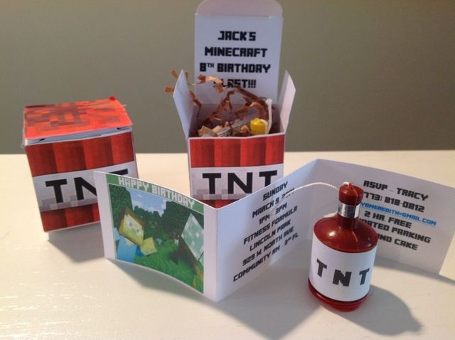 Best Minecraft Birthday Party Invitation ever!! Jack's 8th Minecraft Birthday Blast | CatchMyParty.com: Invite. I am making these for sure