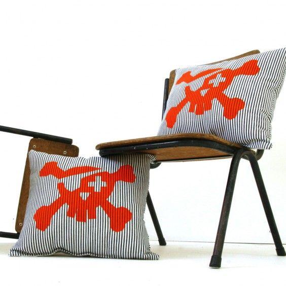 Freddy Alphabet Pirate Cushion - Thin Dark Blue Stripe