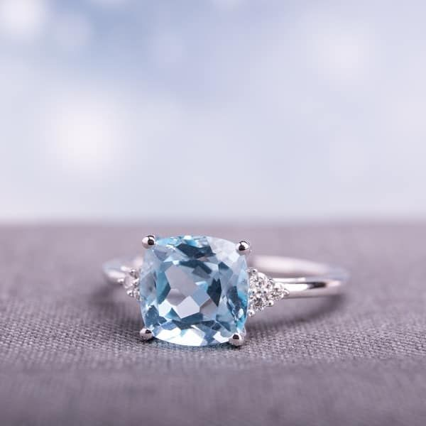 TOPAZ Ring  Sterling silver and 14K gold ring with genuine sky blue topaz Natural Topaz ring wedding ring stylish ring Christmas Gift