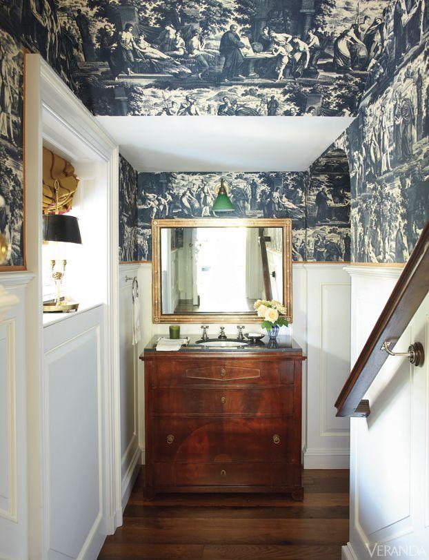 Nashville's historic Boxwood estate. Interior design by David Netto. Lovely blue and white toile wallpaper