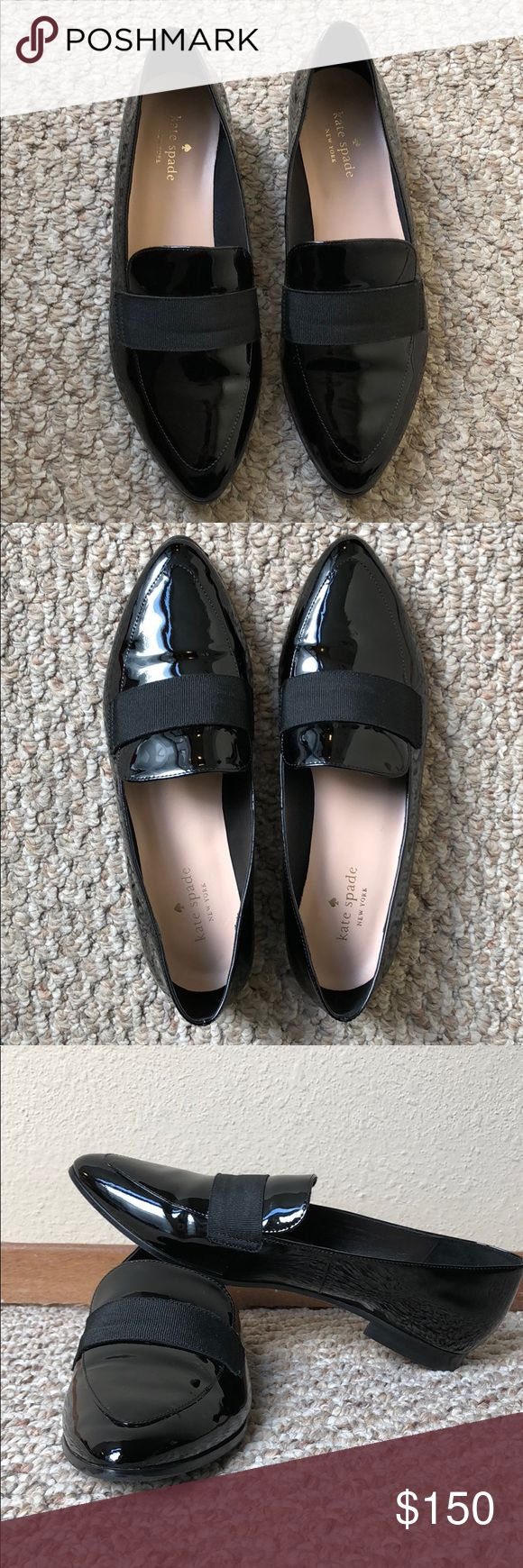 Kate Spade Women's Size 8 Patent Leather Flat 🖤 Worn once to a work event! Would jazz up any outfit! These sleek loafers have a slightly feminine shape, making them a perfect match for nearly everything in your wardrobe, from cropped pants to swingy skirts. Patent leather with stack heel. Slip-on Loafer. kate spade Shoes Flats & Loafers